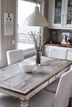 Search for farmhouse table designs and dining room tables now. this modern farmhouse dining room table is the perfect addition to any dining table & space. Rustic Kitchen Tables, Rustic Table, Kitchen Decor, Kitchen Ideas, Kitchen Wood, White Wood Table, Kitchen Cabinets, Rustic Cabinets, Grey Table