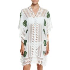 Miguelina Tyra Leaf-Print Caftan Coverup ($580) ❤ liked on Polyvore featuring tropical leaf, miguelina, cotton caftan and cotton kaftan