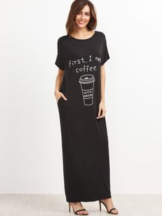 Black Graphic Print Maxi Tee Dress With Side Pocket