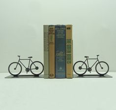 Bicycle Bookends by KnobCreekMetalArts on Etsy, $44.99