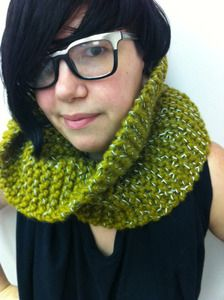 Cowl neck scarf that has reflective threads in it so people can see you at night!