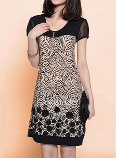 Stylish Short Sleeve Scoop Neck Spliced Printed Loose-Fitting Dress For Women Stylish Dresses, Cheap Dresses, Casual Dresses, Formal Dresses, Mode Batik, Dress Outfits, Fashion Dresses, Frack, Beauty And Fashion