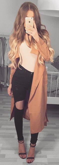 Camel Coat // Black Sandals // Skinny Jeans // Pink Bodysuit Source