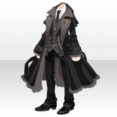 @trade | ドレッシーコートスタイルA ブラック Anime Outfits, Boy Outfits, Cute Outfits, Fashion Outfits, Dress Drawing, Drawing Clothes, Clothing Sketches, Black Girl Art, Fashion Design Sketches