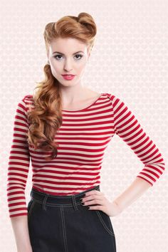 50s Martina Boat Neck T-shirt in Red