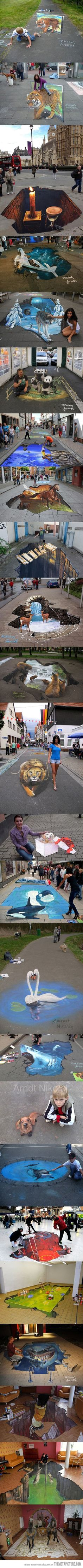 3D chalk art has got to be one of the neatest things in the world