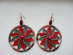 Red Green Pinwheel Earrings 2