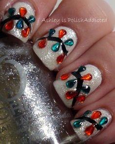 Christmas Jewel Light Nails |     - Christmas Nail Art