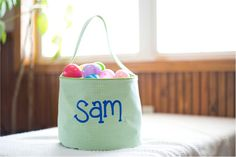 Monogrammable Gingham Easter Basket Tote - LIME Embroidery Blanks, Embroidery Software, Halloween Buckets, Easter Baskets, Gingham, Lime, Make It Yourself, Bags, Handbags