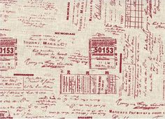 La Couture Tickets & Writing 100% Linen by Stof A/S ST15 233 V10 Red. $9.99, via Etsy.