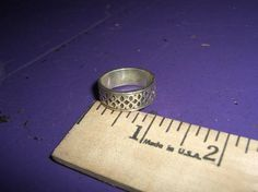 Sterling Silver .925 Stamped Design Ring Sz 8.5 FREE SHIPPING