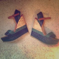 Blue and green wedge shoes! Adorable! Super cute wedge shoes! Have only been worn once! Great shoe for casual wear or going out! Shoes Wedges