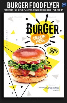 Buy Burger Food Flyer Flyer by sparkg on GraphicRiver. Burger Food Flyer Flyer It's unique flyers, poster design for your business Advertisement purpose. All Elements are i. Food Graphic Design, Food Menu Design, Food Poster Design, Flyer Design, Layout Design, Design Design, Flyer Dj, Sport Flyer, Radio Flyer