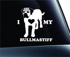 I Love My Bullmastiff Dog Symbol Decal Paw Print Dog Puppy Pet Family Breed Love Car Truck Sticker Window (White) ExpressDecor http://www.amazon.com/dp/B00SVX226S/ref=cm_sw_r_pi_dp_LE52ub120P1E6