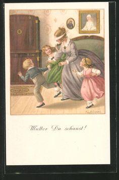 carte postale ancienne: CPA Illustrateur Pauli Ebner: des enfants spielen avec ihrer Mutter Blinde Kuh