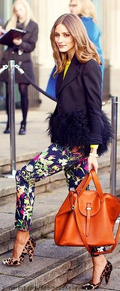 OH FUN COLR FLORALS AND EXP JACKET RED BAG WORK IT Street Style | Olivia Palermo