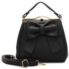 VK Beautiful Tote Handbag With Big Bowknot - Black Tote Handbags, Leather Backpack, Bucket Bag, Backpacks, Shoulder Bag, Vintage, Beautiful, Black, Bow