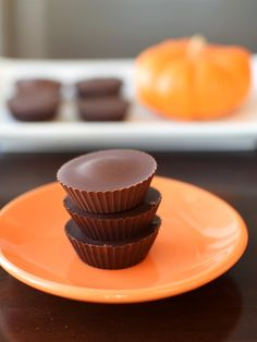 These scrumptious chocolate pumpkin butter cups are an easy no bake recipe for Halloween and beyond. Vegan, gluten-free, soy-free, optionally nut-free.