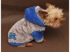 Marysa mikina s kapucí rozepínací melír a modrá 30 cm délka 35 cm obvod obleček pro psa