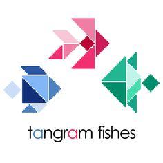 Tangram fish blue PDF cross stitch pattern by galabornpatterns