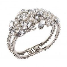 Stunning diamante and faux pearl encrusted cuff bracelet.