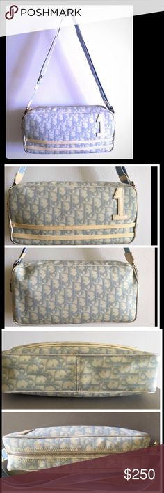 """Authentic Dior signature cross body 100% Authentic * signature monigram* light blue* clean interior* zipper closure* 1 zipper pocket inside* light wear to trim that can be taken to cleaners. Well cared for vintage crossbody* measurements are as follows. 11""""X8""""X 3"""" strap drop is 12""""-22"""" with its adjustable strap. Open to offers please use offer button. Dior Bags Crossbody Bags"""
