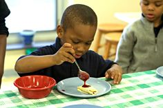 Pre-K Cooking Class in the Walker Jones Food Lab. Taught by Chef Christina, Chef Ed and Katie, our RD. This week the kids learned to make crepes with berry compote.
