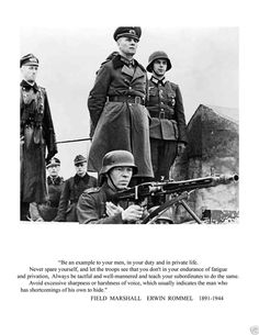 "Field marshal erwin rommel ""be an example to""quote 8 1/2 x 11 novelty photo (a)"