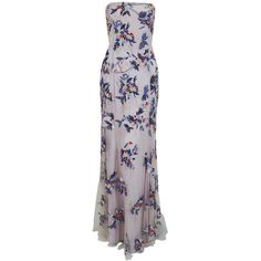 1990's Giorigo Armani Beaded Lavender Floral Strapless Cut-Out Back... ($1,580) ❤ liked on Polyvore featuring dresses, gowns, strapless floral dress, strapless gown, formal dresses, strapless dresses and beaded gown