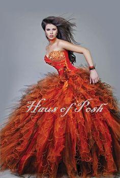 "Custom Couture Bridal Dress Quinceanera Wedding Gown ""Orbit Orange""From HausofPosh @ www.etsy.com/..."