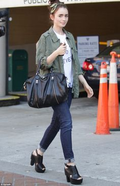 Lily Collins wearing Zadig & Voltaire Sunny Bag Topshop Always and Forever Tee Koolaburra Zinda Platform Clogs in Black
