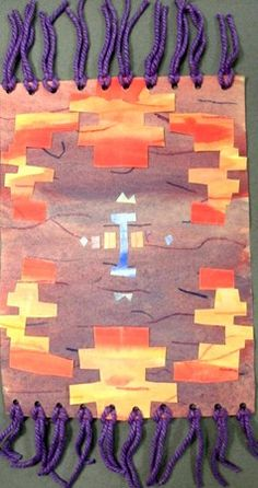 Navajo rug designs using painted paper American Indian Art, American History, Native American Projects, Navajo, Native American Legends, 2nd Grade Art, Arts Integration, Art Lessons Elementary, Autumn Art