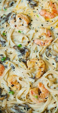 Creamy shrimp and mushroom pasta in a delicious homemade alfredo sauce. All the flavors you want: garlic, basil, crushed red pepper flakes, paprika, Parmesan and Mozzarella cheese. AMAZING!