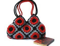 Crochet afghan red flower handbag crochet bag shoulder by zolayka, $85.00