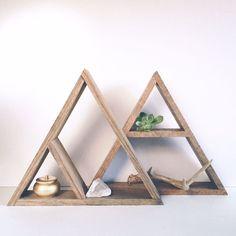 Hand Stained Triangle Wood Shelf