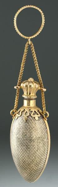 c.1880 EGG SHAPE METAL SCENT PERFUME BOTTLE WITH DOT PATTERN DECORATION