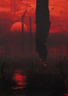 swamp inferno sketch (arches fall from the sky) Red Aesthetic Grunge, Aesthetic Art, Aesthetic Pictures, Dark Red Wallpaper, Digital Foto, Types Of Aesthetics, Environment Concept Art, Fantasy Artwork, Landscape Art