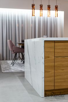 Kitchen island detail - White marble and wood White Marble, Kitchen Island, Construction, Cabinet, Detail, Storage, Wood, Projects, Furniture