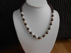 Chocolate brown and white pearl necklace