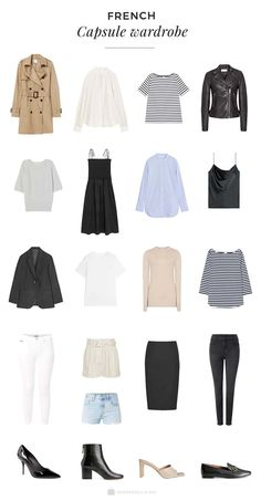 French Capsule Wardrobe - Capsule Wardrobe - A French capsule wardrobe is a classic and effortlessly chic wardrobe that the French woman are kno - French Capsule Wardrobe, Capsule Wardrobe Essentials, Parisian Wardrobe, Minimalist Wardrobe Essentials, Classic Wardrobe, Travel Wardrobe, Fashion Capsule, Fashion Outfits, Parisian Chic Style