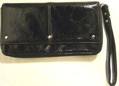 Women Faux Patent Leather Clutch Black Wrist Strap Side Pocket Zipper. #FauxLeather #Clutch