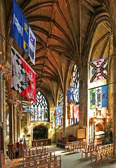 Banners of Knights of the Order of the Thistle, Thistle Chapel, St. Giles High Kirk in Edinburgh.