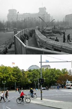 Berlin Wall: Before and after photos Citizens from East Germany erecting the wall in front of the Reichtags building in November, and (below) people cycling across the same spot in September, East Germany, Berlin Germany, Germany Area, Berlin Hauptstadt, Potsdam Germany, Berlin Photos, Brick In The Wall, Berlin Wall, End Of The World