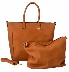 Amazon.com: MG Collection PENELOPE Brown 2 in 1 Bucket Shopping Tote Bag w/ Removable Pouch: Shoes