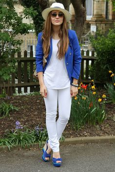 all white outfit cobalt blue touch