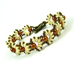 Cascara Bronze, Beadwork Bracelet with Pearls and Cream Super Duo Beads.