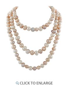 """Fresh Water White Peach Lavender Pearl 54"""" 8-9MM #Necklace *  $27.20"""