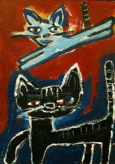 Kitty Buddies Outsider T Marie Nolan Raw Folk Art Brut Painting Original   eBay
