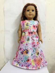 American-girl-free-shipping-Doll-Clothes-colorful-dress-for-18-doll-handmade