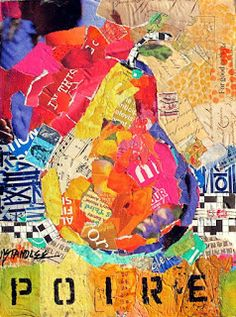 """Nancy Standlee Fine Art: Pear Torn Paper Collage, """"Poire"""" 12095 by Texas Contemporary Collage Artist Nancy Standlee"""